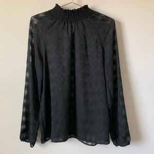 Black Semi Sheer Chevron Blouse Medium